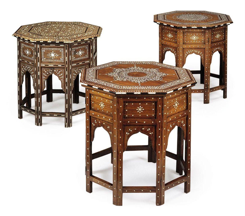 A classic exotic home accessory: INDIAN IVORY, BONE AND EBONY-INLAID SHISHAM (INDIAN ROSEWOOD) OCTAGONAL TABLES - HOSHIAPUR, CIRCA 1900-10