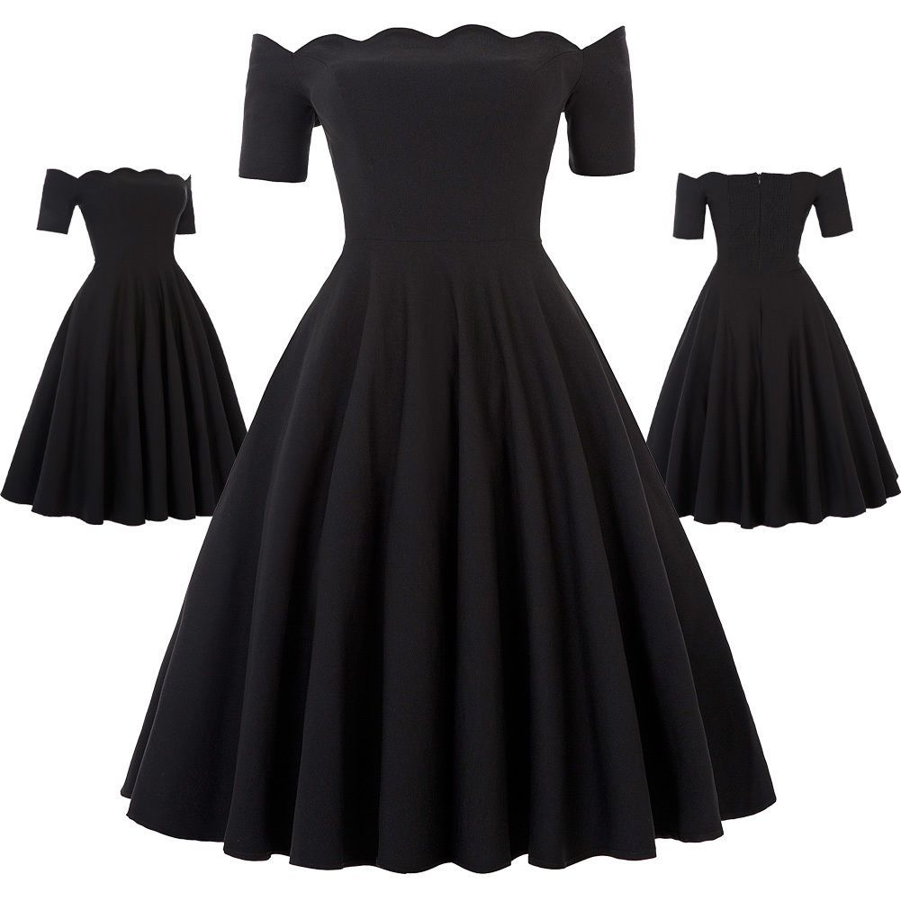 Retro vintage s s off shoulder swing party picnic evening prom