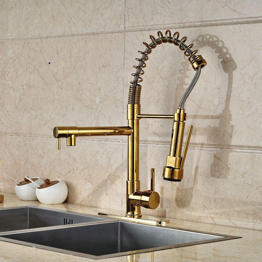 Modern Gold Kitchen Faucet Dual Spouts Spring Sink Mixer
