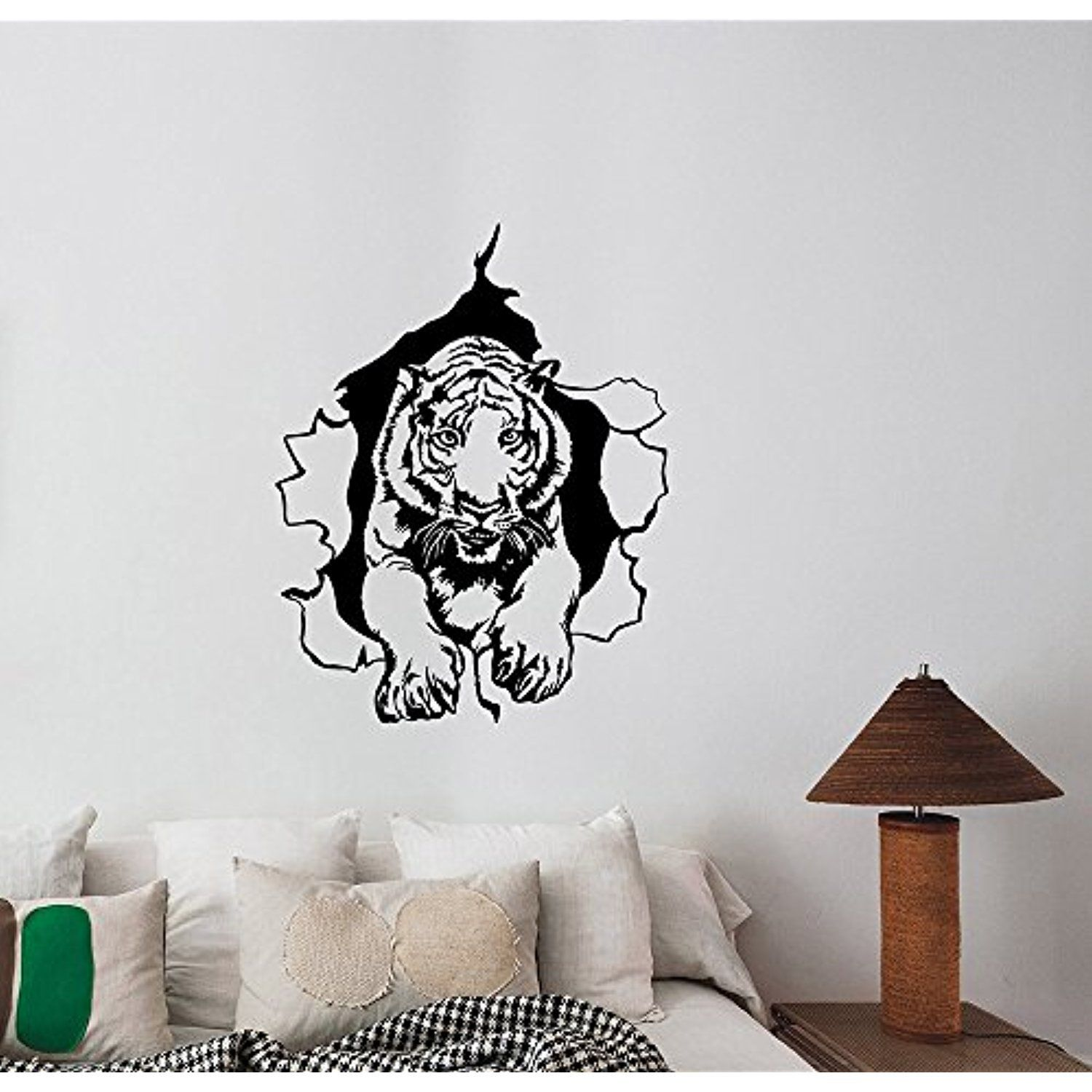 Tiger Ripped Wall Decal Vinyl Sticker Safari African Animal Art ...