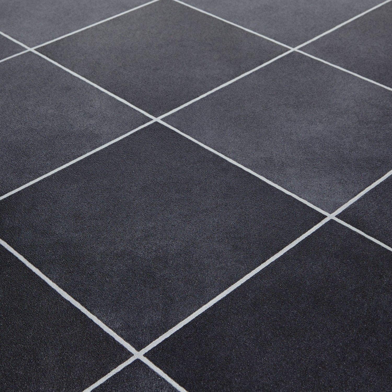 Mardi Gras 598 Durango Black Stone Tile Vinyl Flooring ...