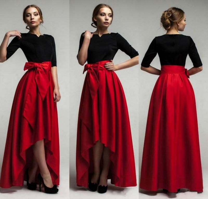 Elegant Red Taffeta High Low Skirts For Woman 2015 New Fashion ...