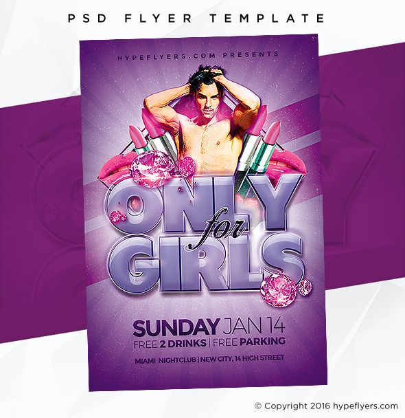 Only For Girls Flyer Event Template Psd Templates And Adobe Photoshop