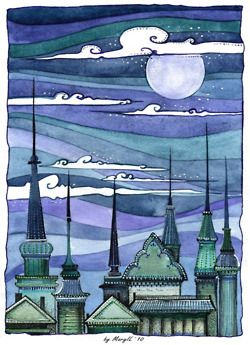 landscape with cool sky (sharpie, watercolor, architecture), 5th