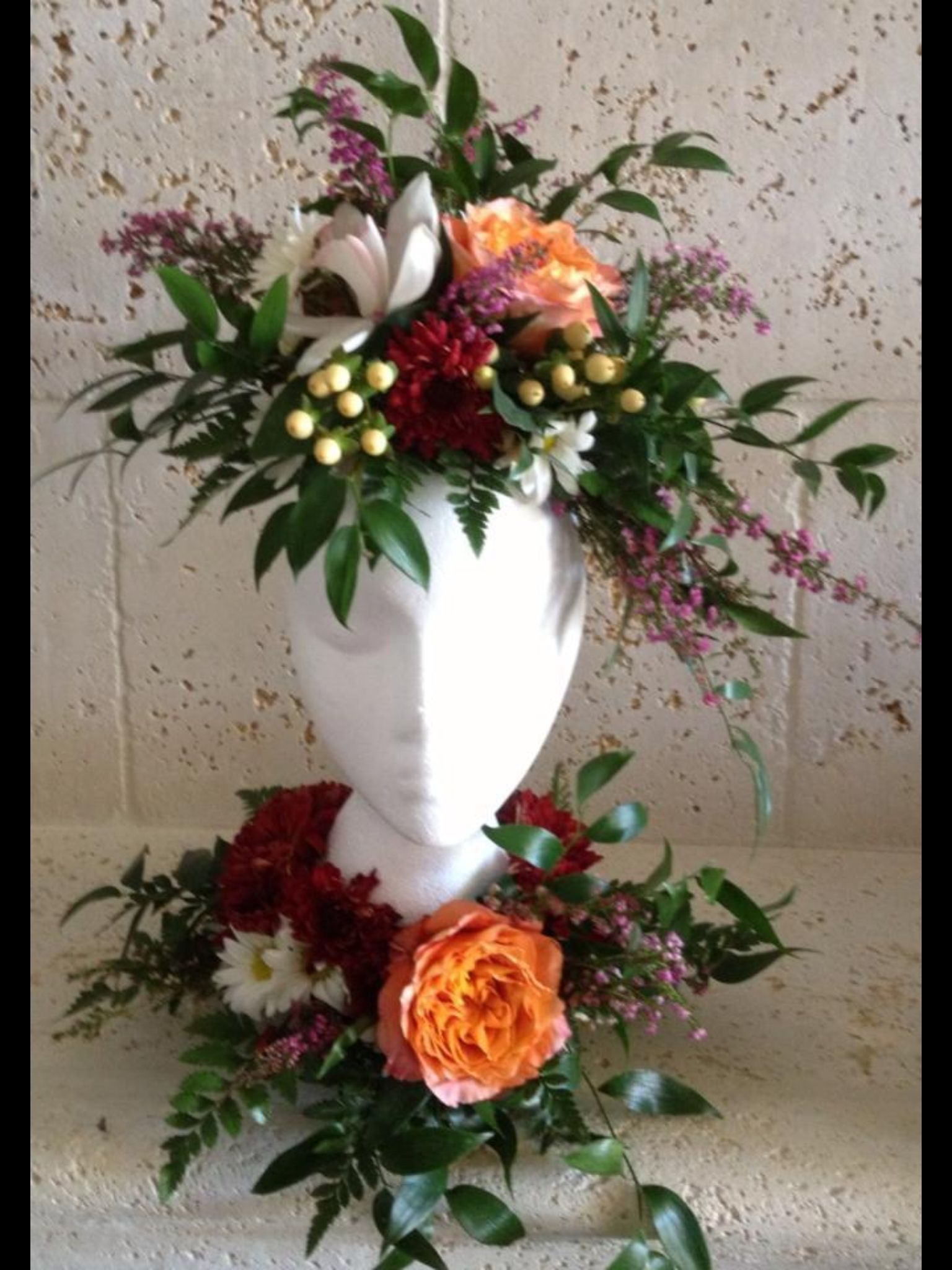 Floral mannequin head floral arrangements by aroma for Flower heads for crafts