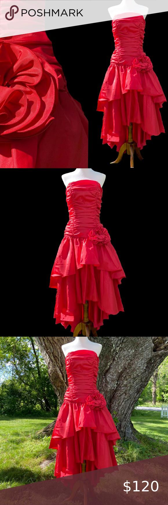 Vintage 80s Prom Dress Red Small Red Prom Dress 80s Prom Dress Red Dress [ 1740 x 580 Pixel ]