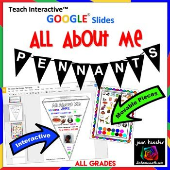 All About Me Pennants Google Edition Design Print Hang Pennant Template We Are Teachers Class Book