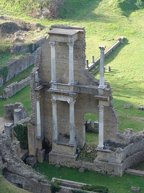 a castle that once stood strong is now in rubble and decay  Ancient Ruins in Volterra, Italy