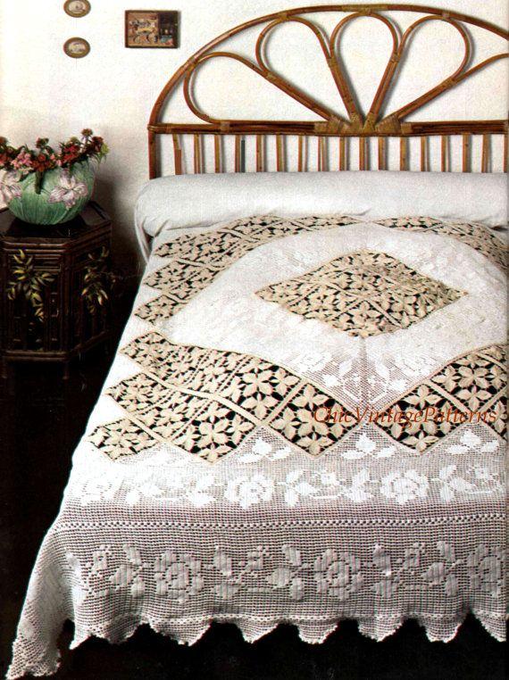 Crochet Bedspread ... PDF Crochet Pattern ... Stunning Heirloom ...