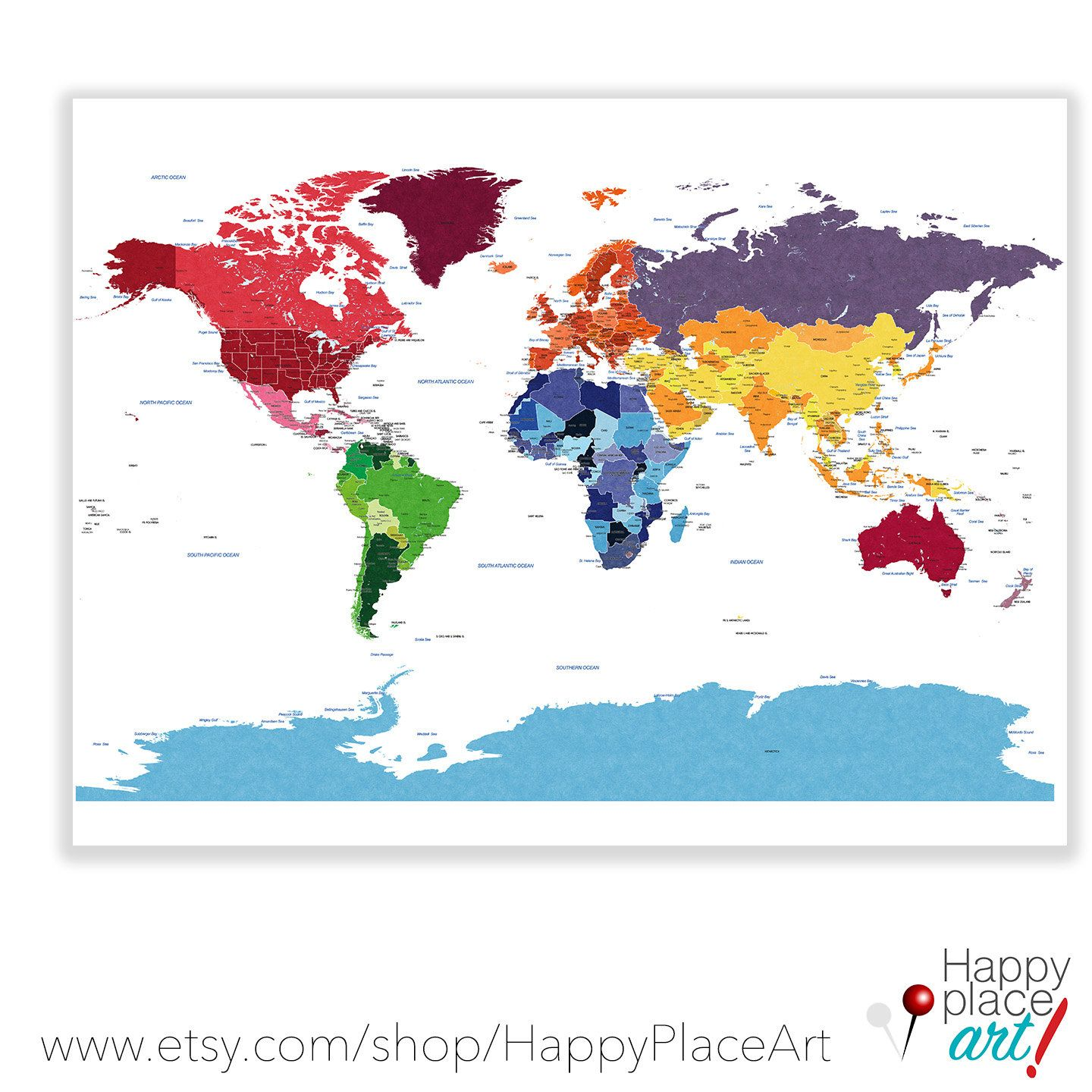 Detailed World map with city labels World map by HappyPlaceArt