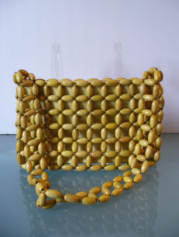e5359e4f69d Vintage Wood Bead Bag Made in Japan | Vintage Summer Purses | Beaded ...