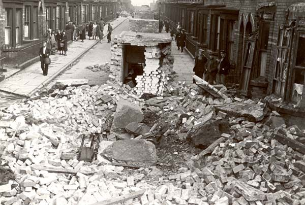 Home front  Destroyed shelter on the local streets