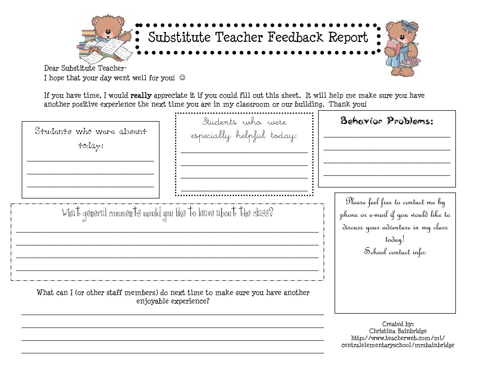 Substitute Teacher Report Template
