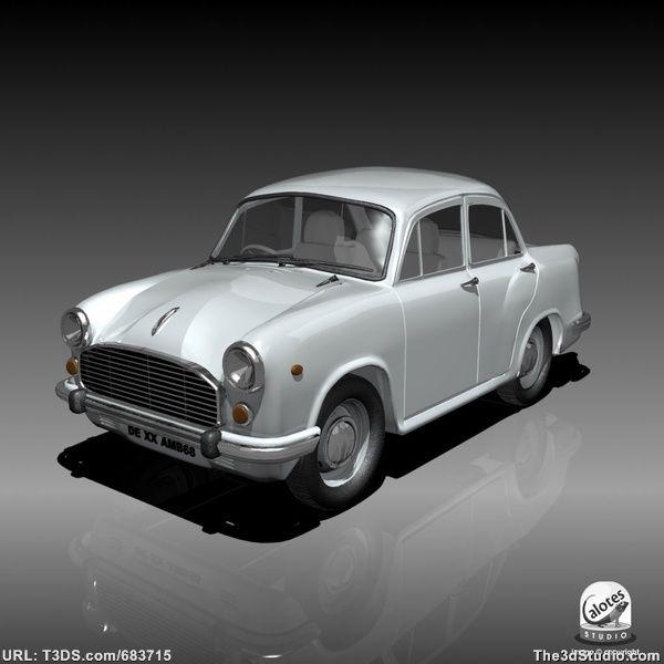 Hindustan Ambassador Sedan Vintage Indian Car Royalty Free 3d