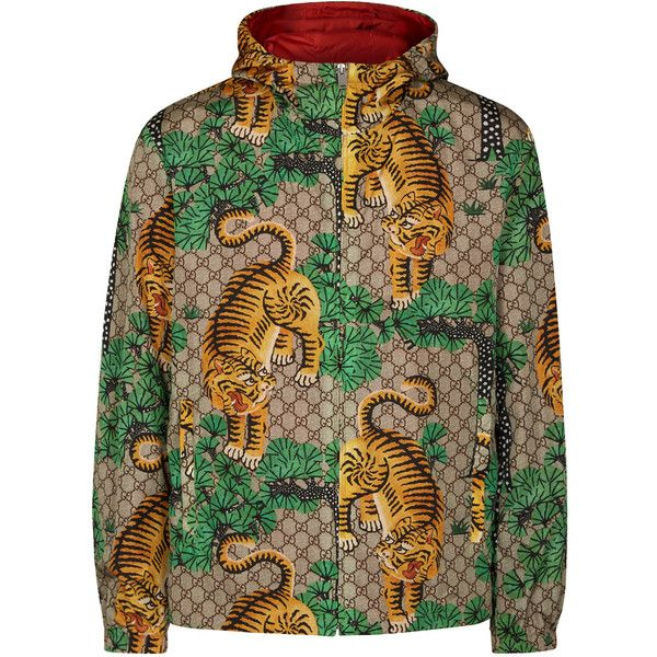 Gucci Tiger,print shell bomber jacket ($1,190) ❤ liked on