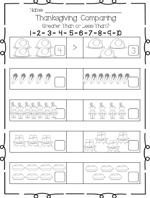 Freebie This Quick Worksheet Can Be Included In Your Thanksgi Thanksgiving Worksheets Kindergarten Comparing Numbers Kindergarten Kindergarten Math Worksheets