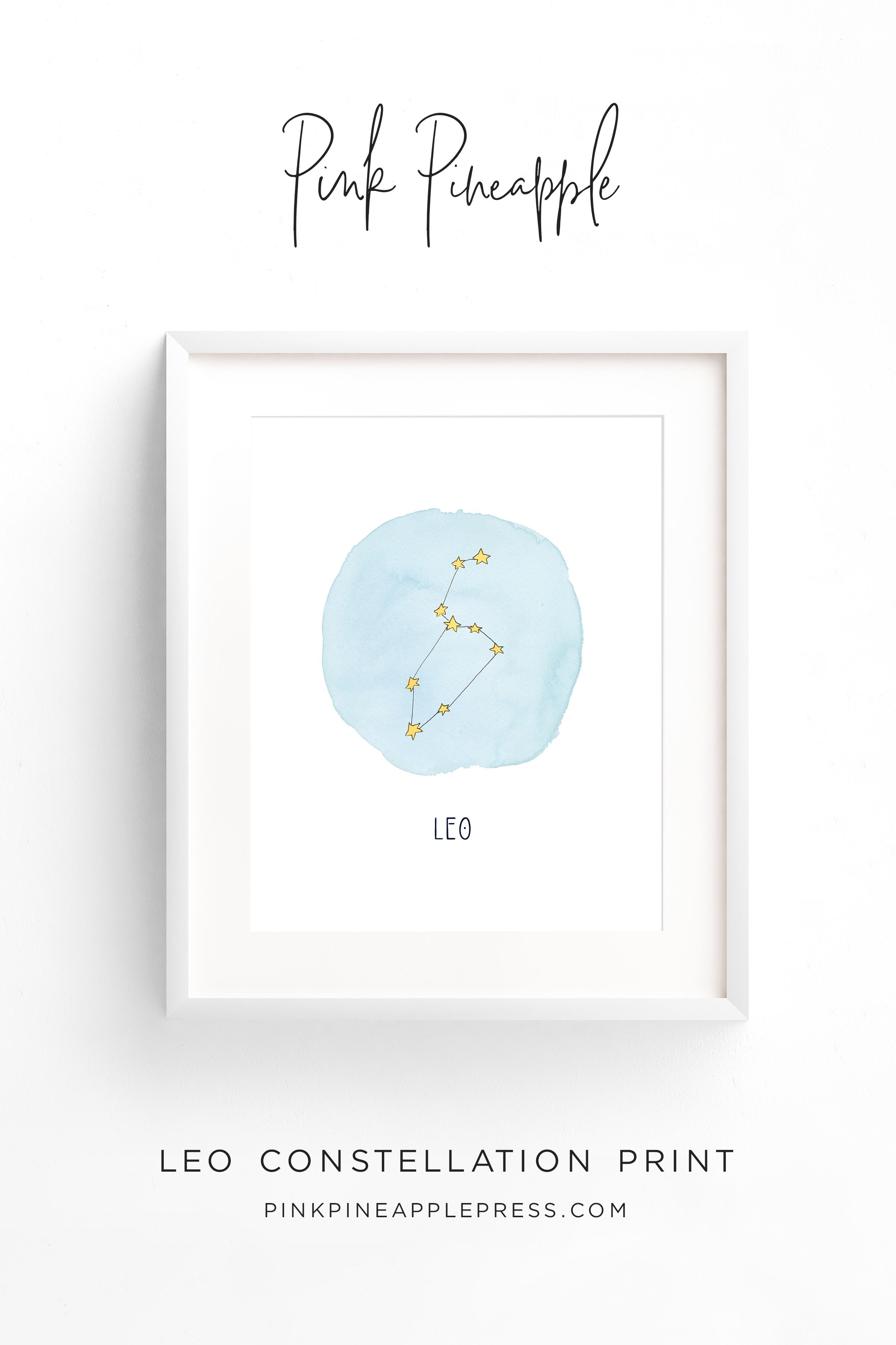 Pink Pineapple - Leo Constellation Art Print - Printable Wall