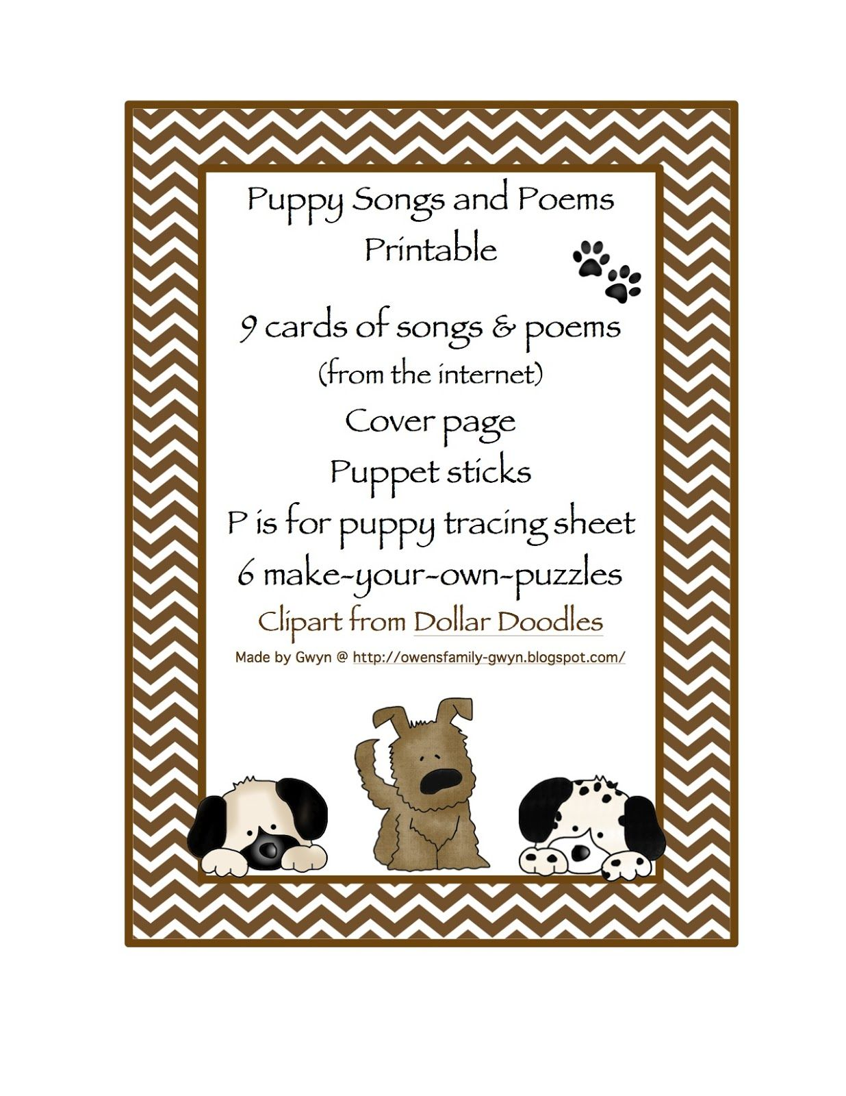Preschool Printables Puppy Songs Amp Poems Printable