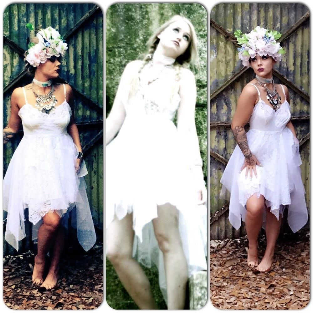 Boho wedding dress white sundress bohemian beach bride dress