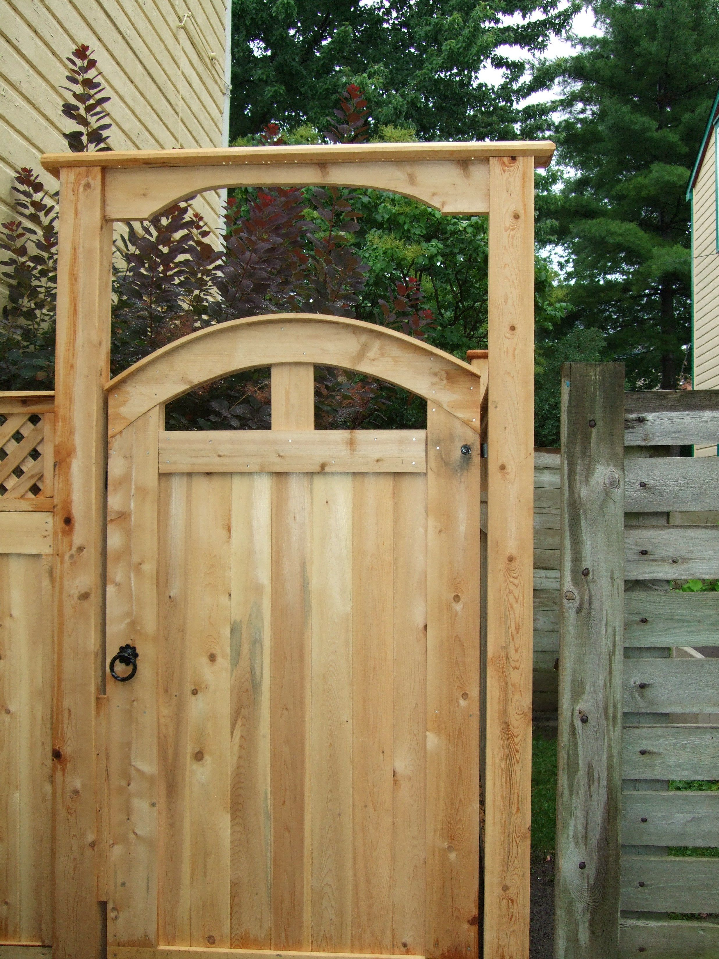 Lovely Arched Pre Made Cedar Gate With Matching Gate Brace