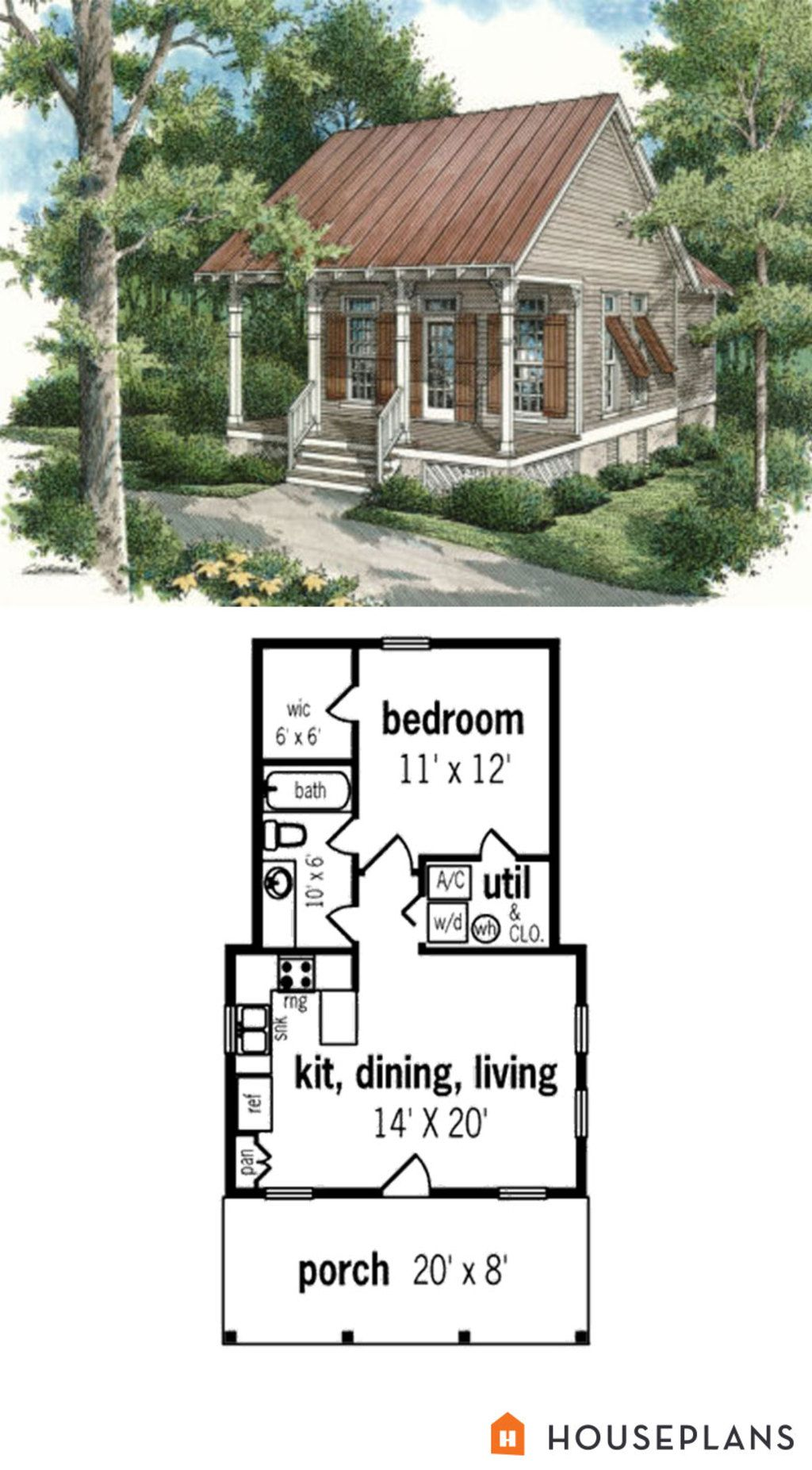 Cottage Style House Plan 1 Beds 1 Baths 569 Sq Ft Plan 45 334 Cottage Style House Plans Cottage Style Homes Cottage Plan