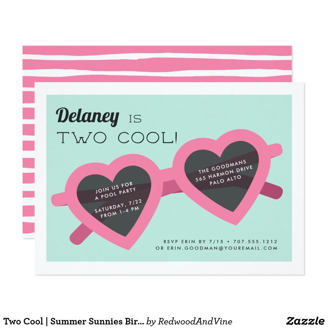 Two cool summer sunnies birthday party invite happy birthday two cool summer sunnies birthday party invite adorable party invitations for your little ones summer stopboris Images