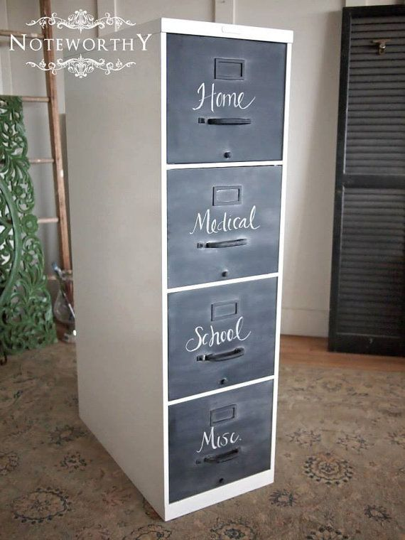 metal vintage file cabinet in white with chalk by