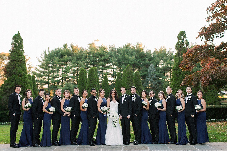 A Classic Bridal Party At The Carltun Blue Fall Wedding Black Bridesmaid Dresses Fall Fall Bridesmaid Dresses