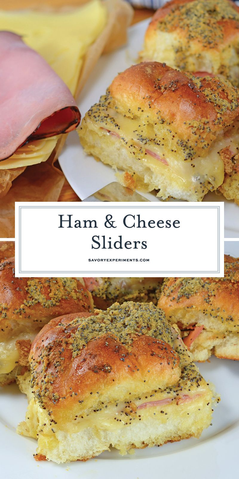 These Ham and Cheese sliders are made with delicious honey ham and Swiss cheese on Hawaiian Rolls. So good there'll never be any leftovers! #hamandcheesesliders #hamsliders #hawaiianrollsliders www.savoryexperiments.com #breakfastslidershawaiianrolls
