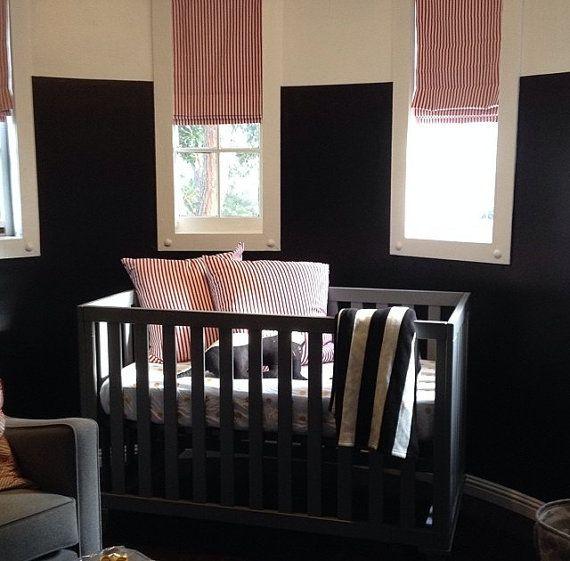 Flat Roman Shade Window Treatments For Celebrity Nursery