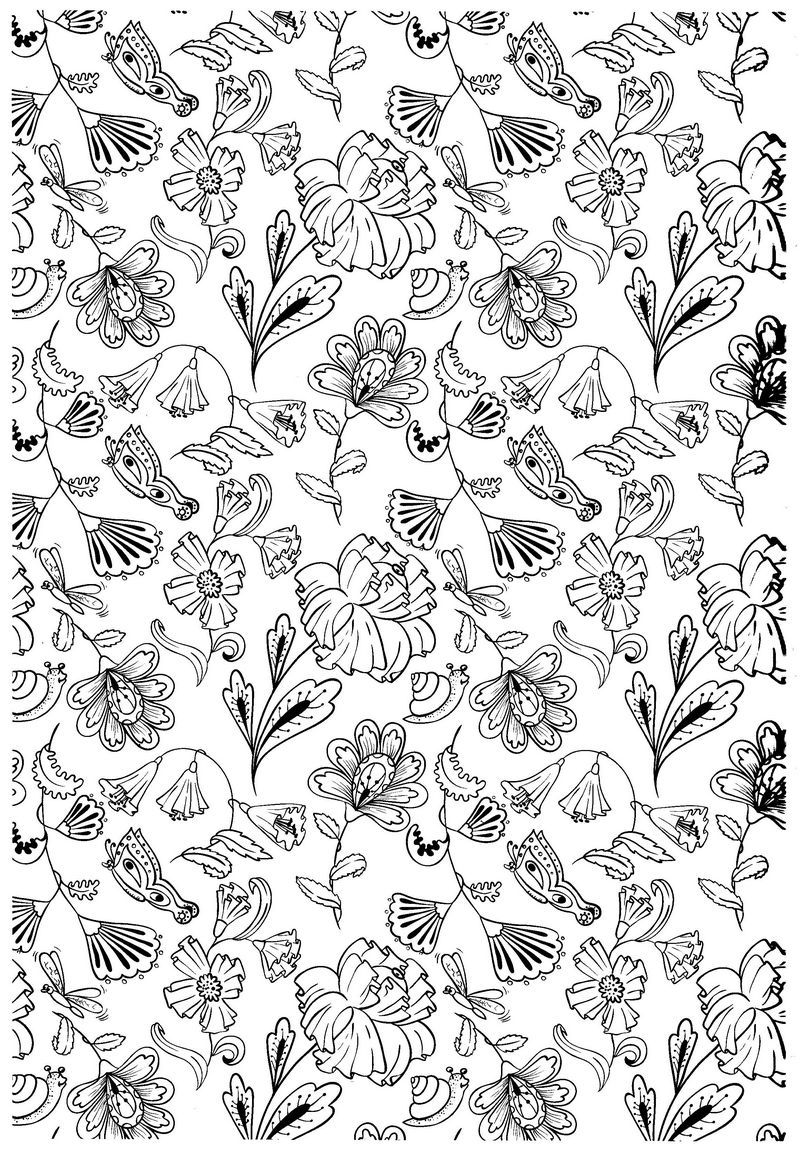 flowers abstract doodle zentangle coloring pages colouring. Black Bedroom Furniture Sets. Home Design Ideas