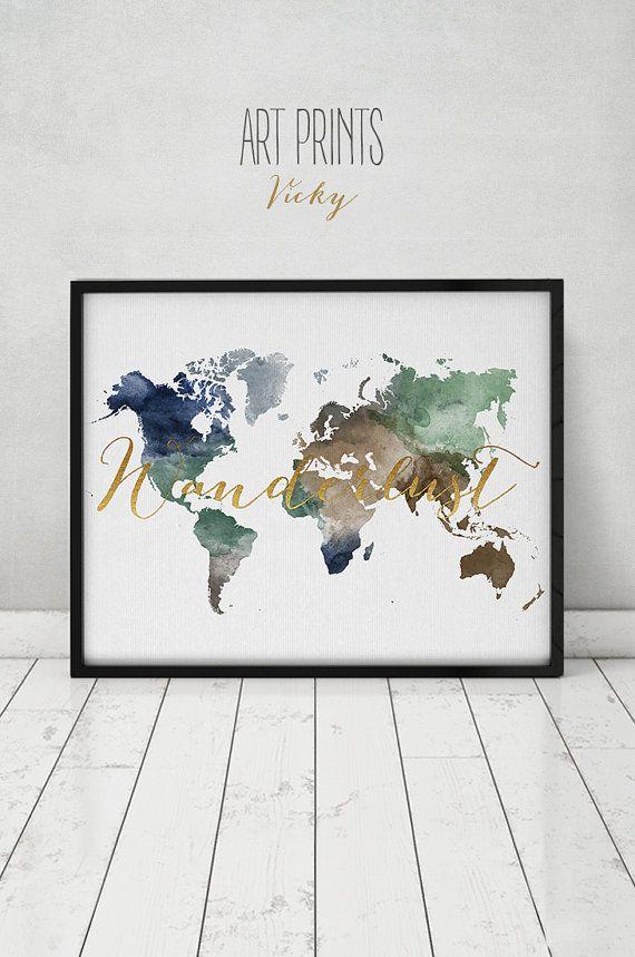 Wanderlust World Map Watercolor Print World Map Poster Travel