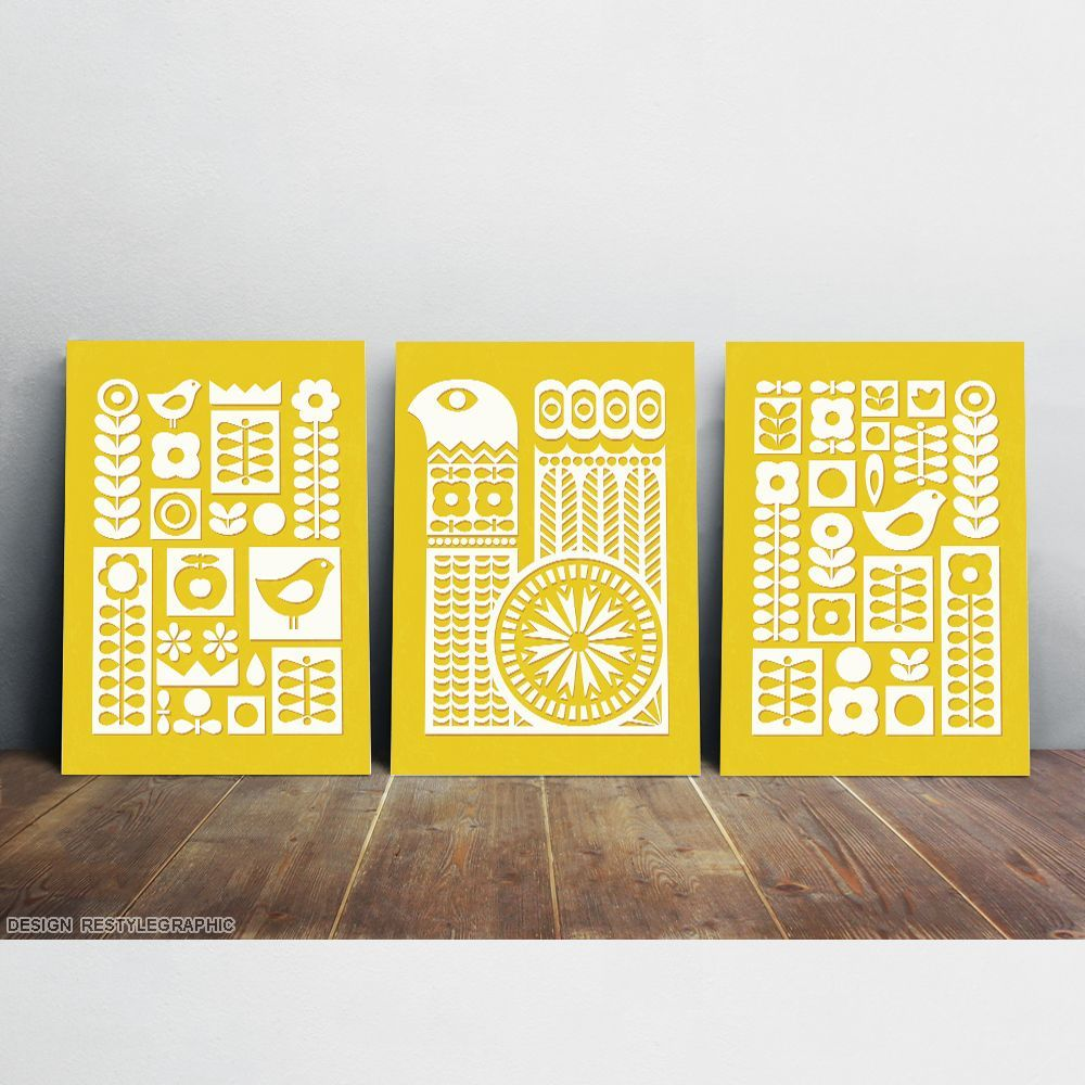 Swedish folk art, Wall art set from three prints via ReStyleGraphic ...