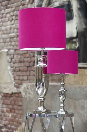 Love the bright shade color olivia room and glass base home pink lamp shades pop of colour mozeypictures Gallery