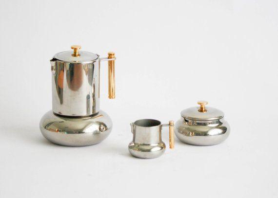 Coffee Maker Jug Set : Principessa Lavazza Vintage Coffee Set: coffee maker, sugar bowl and milk jug - Gold Series ...