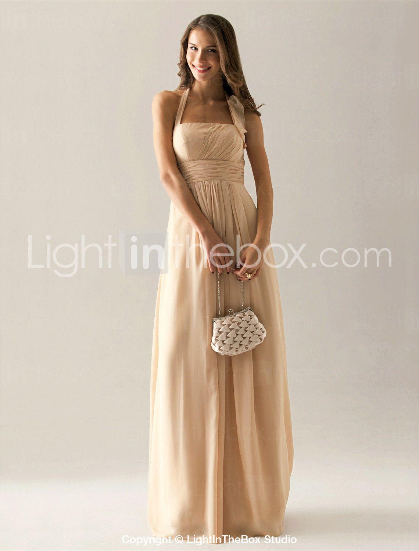 Aline halter floor length chiffon bridesmaid dress with draping