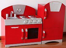 Red Wooden Retro Pretend Play Toy Kitchens Set 299