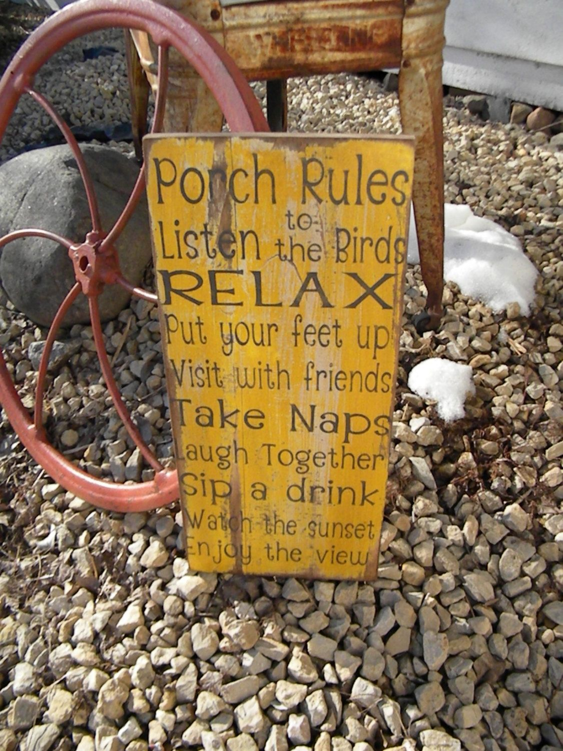 vintage style custom porch rules sign deck rules sign patio rules