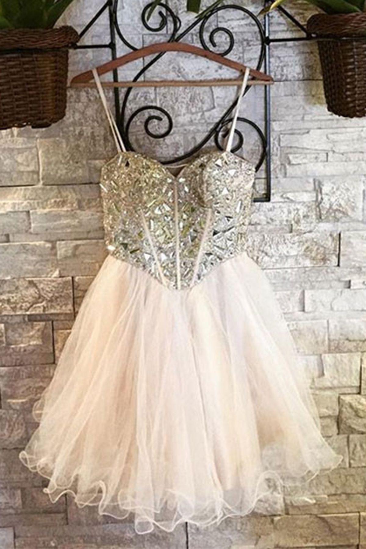 Ivory tulle silver beaded short homecoming dress party dress from