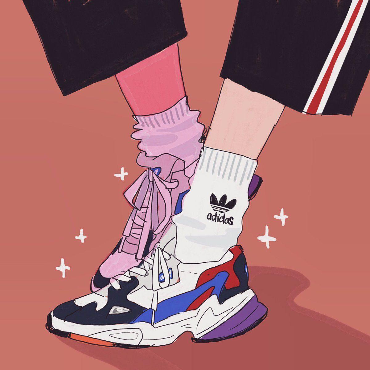 Amelia Lola罗 On Twitter Girl Sketch Retro Painting Sneaker Art