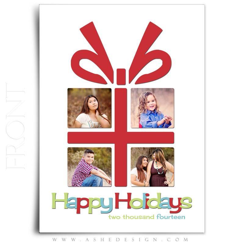 Digital Photoshop Templates for Photographers /& Scrapbookers. 5x7 Flat Card Christmas Gift Christmas Card Design