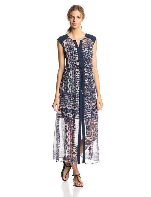 Vince Camuto Women's Tribal Patchwork Tie Waist Maxi Dress, Rich Black, Small