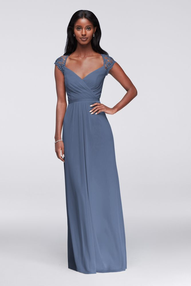 d3d0a519e6c6 ... David's Bridal. Long Mesh Dress with Lace Cap Sleeves with Keyhole  Style 4XLF19505, Steel Blue, 20