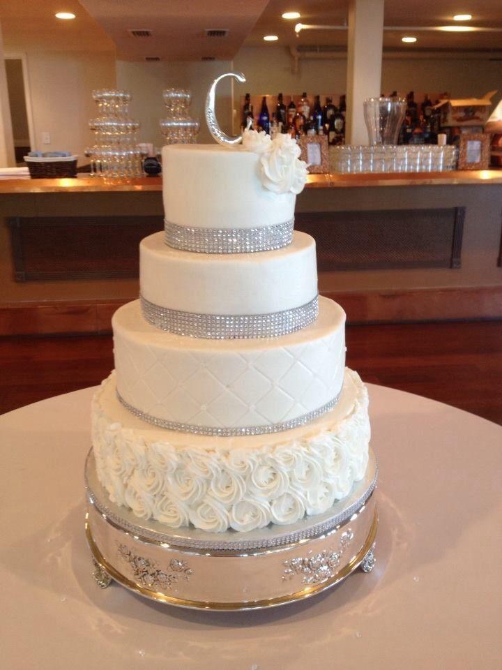 Buttercream With BlingWedding Cake With Bling French Vanilla - Fudge Wedding Cake