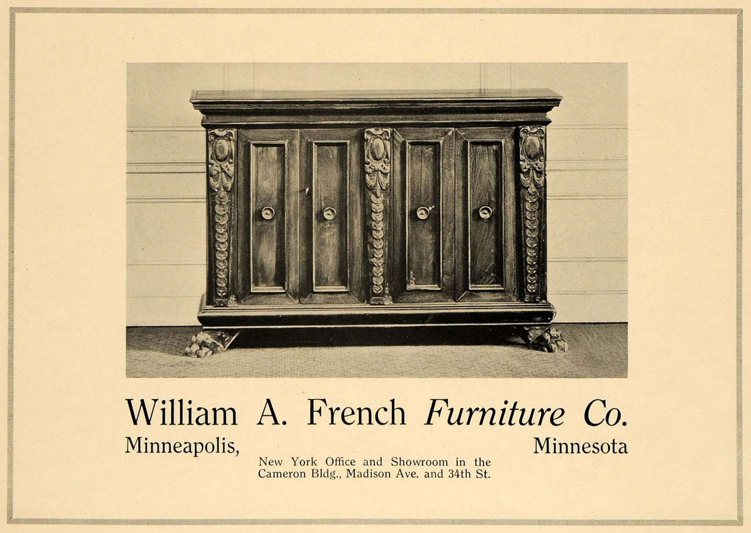 1919 Ad William A. French Furniture Minneapolis MN NY   ORIGINAL  ADVERTISING GF2