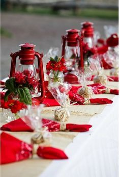 Party Decorating Ideas For Using Red Gingham And Burlap And Lace Tablescape Pa Christmas Table Decorations Christmas Tablescapes Christmas Table Settings