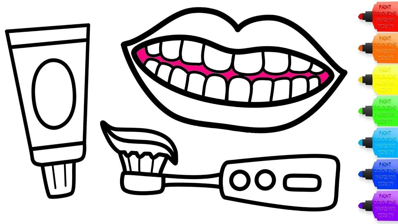 How To Draw Teeth Toothpaste And Electric Toothbrush Coloring Drawing For Kids Youtube Electrictoothbrush Teeth Drawing Brushing Teeth Drawing For Kids