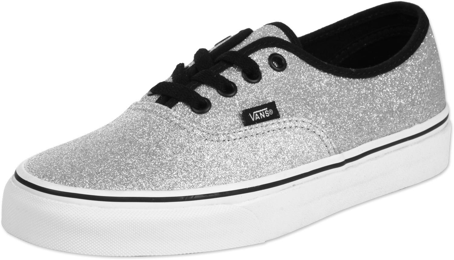 vans womens authentic glitter silver
