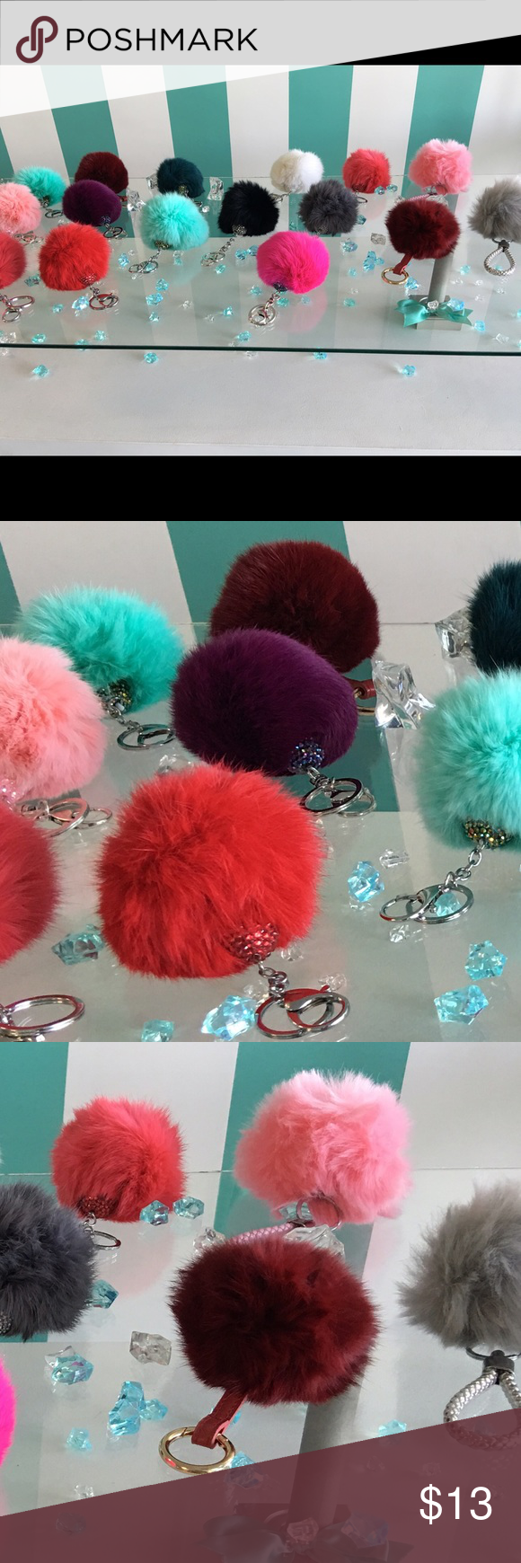 Lovely Rabbit Fur Pompom Keychains/Tassels These super soft, Rabbit Fur Keychain Pompoms and Bag Dangles come in multiple colors and are definitely an eye catcher. They are fashion forward and a beautiful accessory for any occasion. Accessories