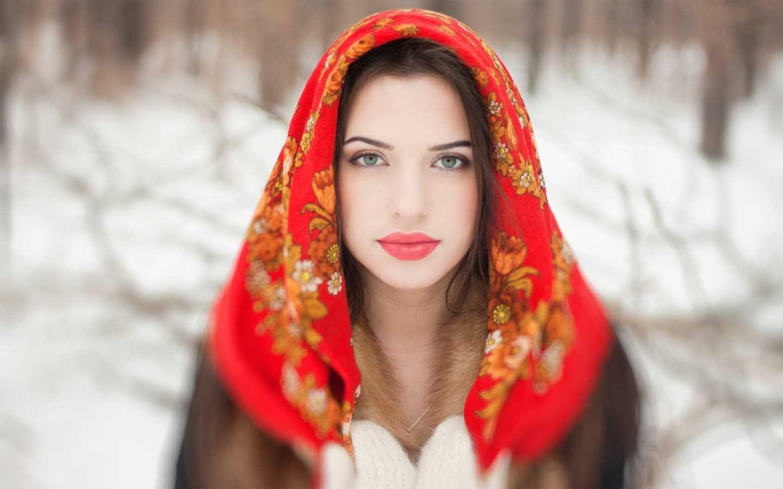 Beautiful Russian Girl In Red Dress